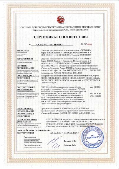 Сертификат пожарной безопасности пример