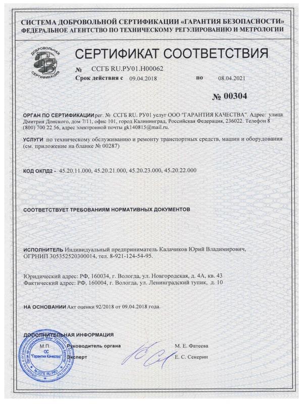 Сертификация услуг пример